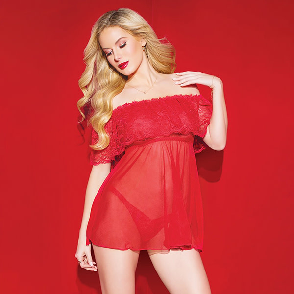 Coquette International Lingerie Off Shoulder Red Lace and Mesh Babydoll (One Size)