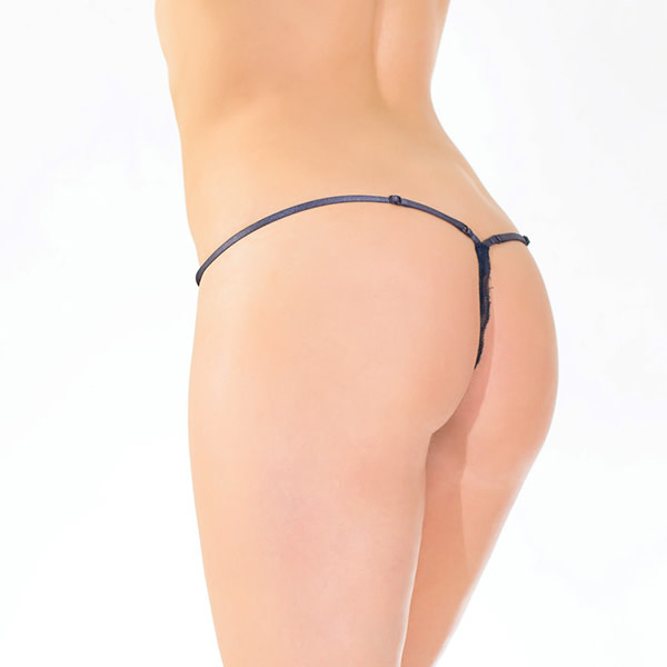 Coquette International Lingerie Scalloped Stretch Lace Adjustable Navy G-String