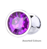 Premium Products Metal Butt Plug with Crystal End (Assorted Colours)
