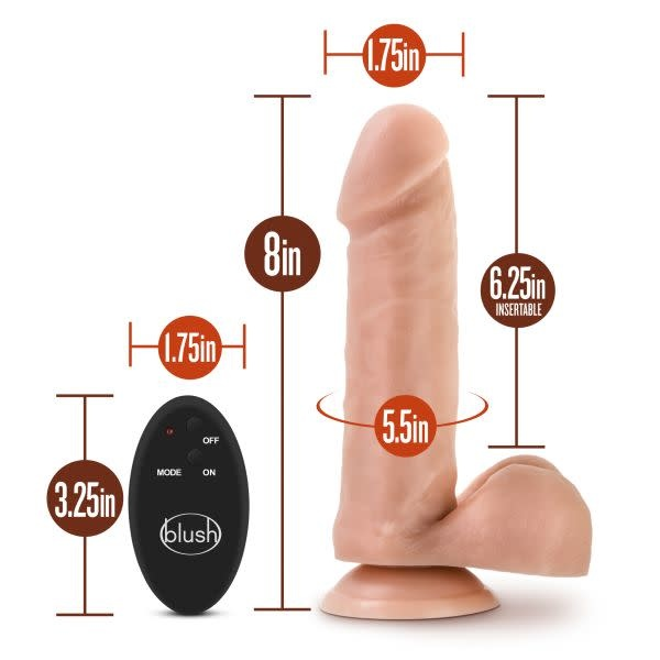 "Blush Novelties Dr. Skin 8"" Wireless Remote Vibrating Dildo (Beige)"