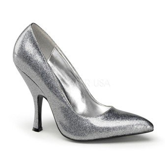 Pleaser USA BOMBSHELL-01G Curved Heel Classic Pump Silver (Size 10)
