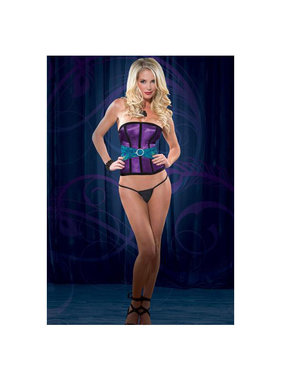 Coquette International Lingerie Satin Corset with Peacock Detail