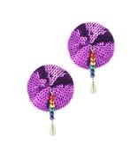PHS International Round Sequin Magenta Nipple Pasties with Rainbow Beads