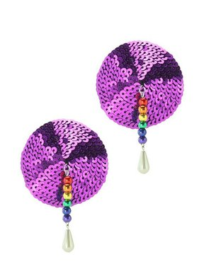 PHS International Round Sequin Magenta Nipple Pasties with Rainbow Beads