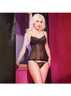 Coquette International Lingerie Mesh Bustier with Binding Detail