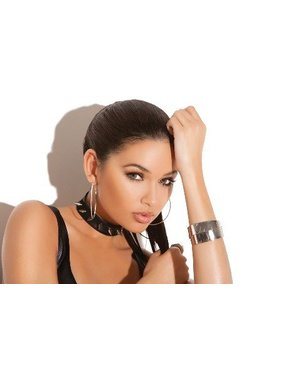 Elegant Moments Lingerie Leather Choker with Spikes