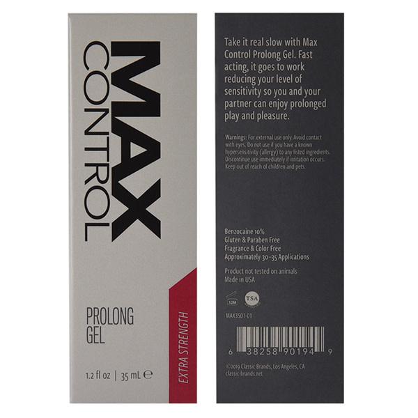 Classic Erotica Max Control Prolong Gel: Extra Strength 1.2 oz  (35 ml) (Benzocaine 10%)