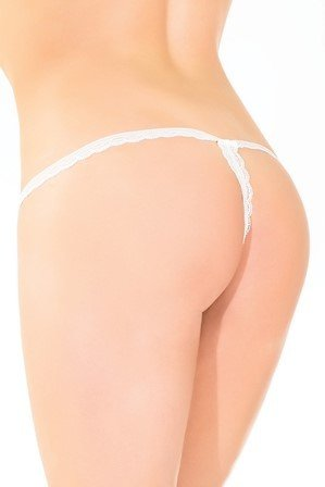 Coquette International Lingerie Coquette Scalloped Lace Open Crotch G-String (One Size)