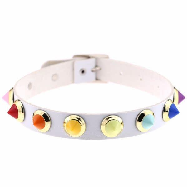 Premium Products Mini Rainbow Spiked Collar (White)