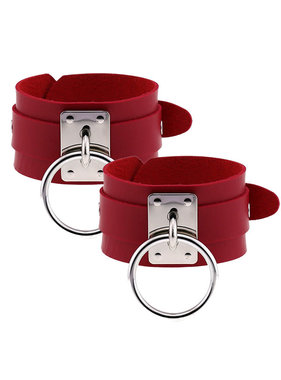 Premium Products Metal O-Ring Pleather Cuffs (Red)