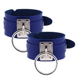 Premium Products Metal O-Ring Pleather Cuffs (Blue)