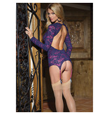 Coquette International Lingerie Raspberry Lace Long Sleeve Chemise with Low Scoop Back (One Size)