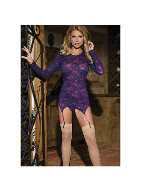 Coquette International Lingerie Raspberry Lace Long Sleeve Chemise with Low Scoop Back