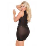 Elegant Moments Lingerie Black Opaque Cupless Mini Dress