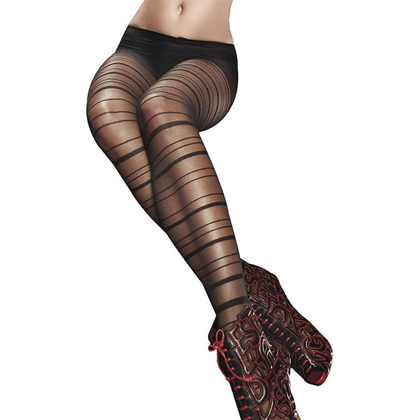 Baci Lingerie Black Sheer Striped Pantyhose