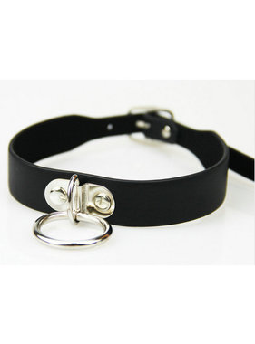 Premium Products Small Leather Bondage Collar with O Ring (Black)