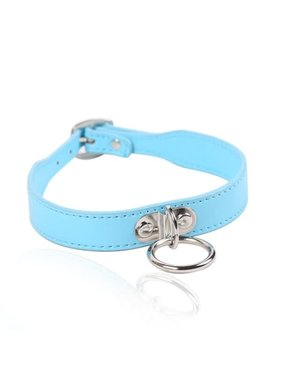 Premium Products Small Leather Bondage Collar with O Ring (Blue)