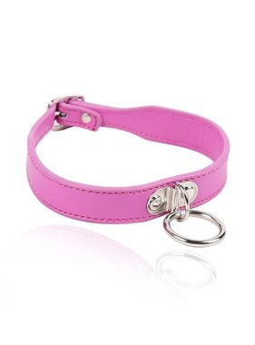Premium Products Small Leather Bondage Collar with O Ring (Pink)