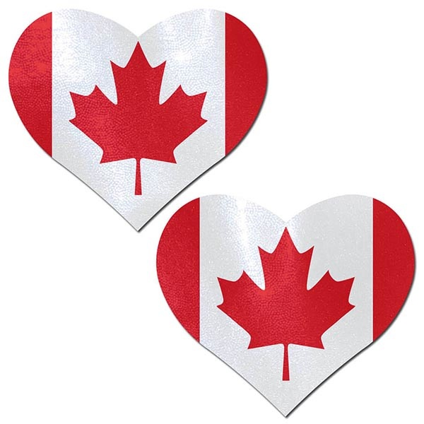 Pastease Brand Canadian Flag on Heart Nipple Pasties