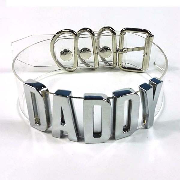 Premium Products Collar with Silver Lettering: Daddy