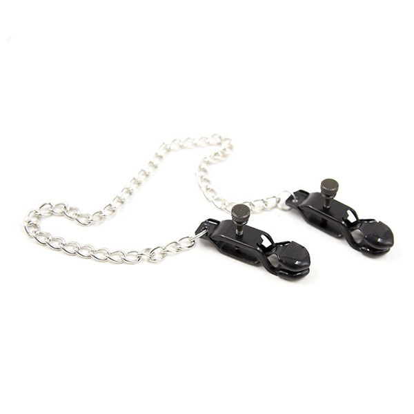 Premium Products Black Pinching Nipple Clamps with Chain