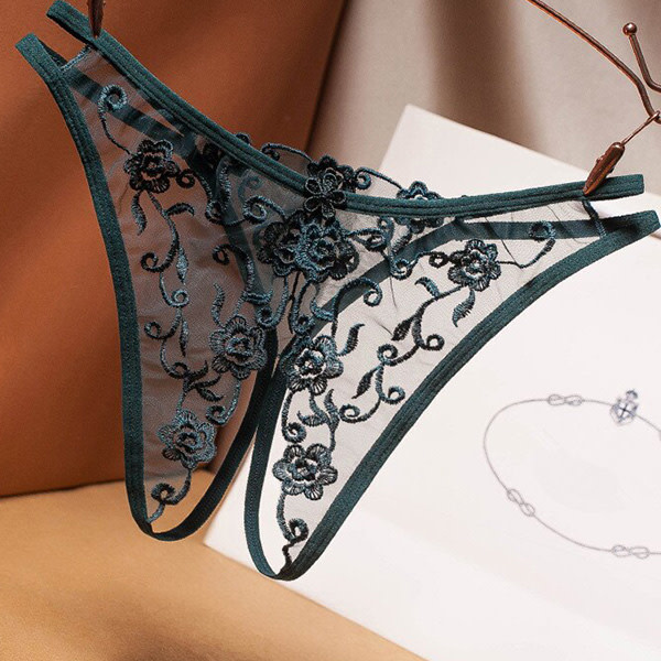 Premium Products Flower Embroidered Crotchless Panty (Green)