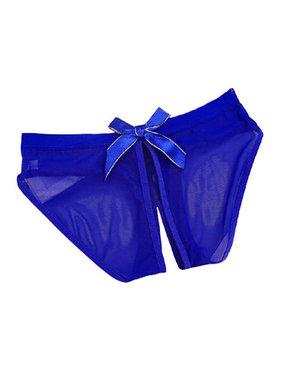 Premium Products Transparent Low-Rise Crotchless Brief (Blue)