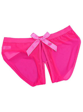 Premium Products Transparent Low-Rise Crotchless Brief (Pink)