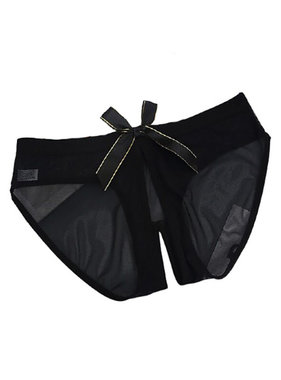 Premium Products Transparent Low-Rise Crotchless Brief (Black)