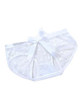 Premium Products Polka Dot Mesh Crotchless Panty (White)