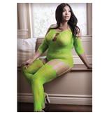 Fantasy Lingerie Sheer Fantasy Stargazing Cold Shoulder Bodystocking (Neon Green)