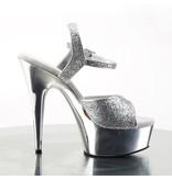 Pleaser USA DELIGHT-609G Silver Glitter & Chrome Peep Toe Sandal