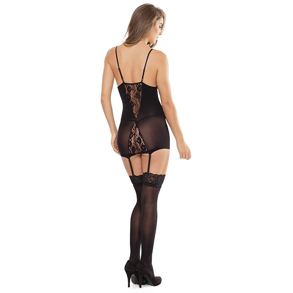 Coquette International Lingerie Lace V Chemise with Garters