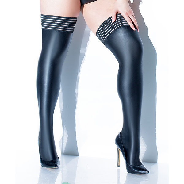 Coquette International Lingerie Forever Matte Wetlook Striped Thigh Highs