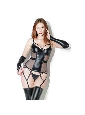 Coquette International Lingerie Wetlook Center Panel Bustier with Fishnet Sides