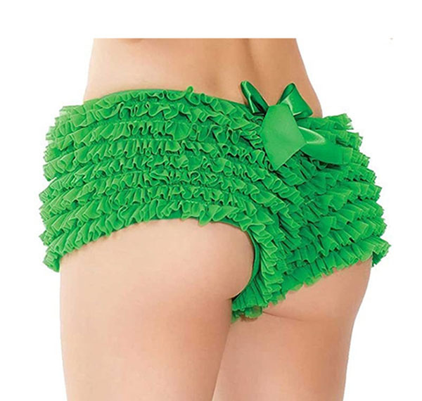 Coquette International Lingerie Ruffle Shorts with Back Bow Detail (Green)