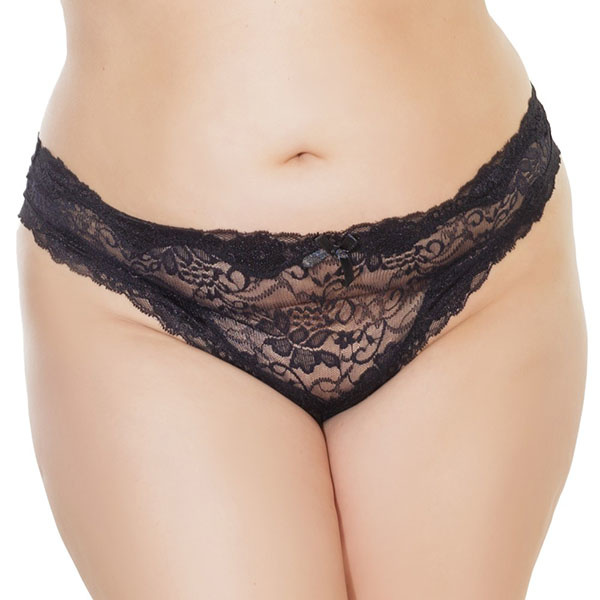 Coquette International Lingerie Floral Print Lace Crotchless Panty (Black)