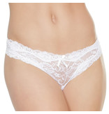 Coquette International Lingerie Floral Print Lace Crotchless Panty (White)