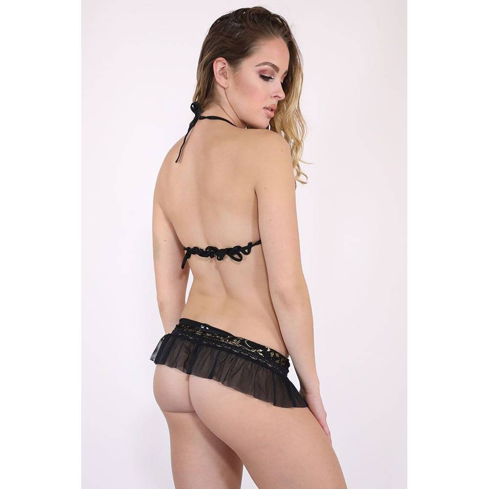 Baci Lingerie Show Girl Glitter Lace Bra and Micro Skirt (One Size)