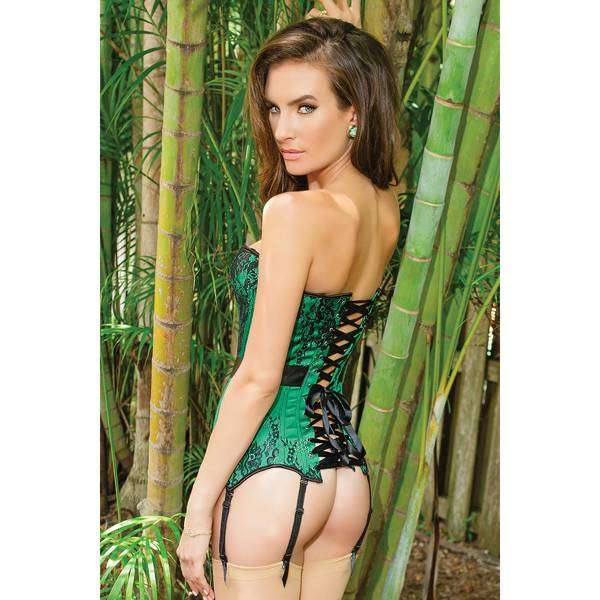 Coquette International Lingerie Green Satin Corset with Black Lace