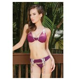 Coquette International Lingerie Plum Microfiber And Mesh Bra Set with Gold Floral Lace