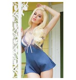 Coquette International Lingerie Blue Satin And Scalloped Stretch Lace Teddy