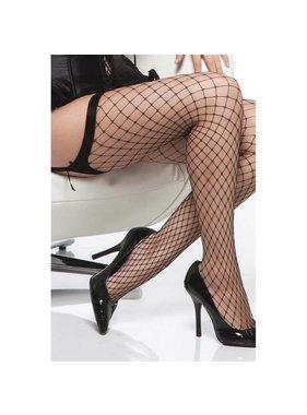 Coquette International Lingerie Black Diamond Net Thigh High Stockings