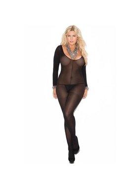 Elegant Moments Lingerie Long Sleeved Black Opaque Bodystocking