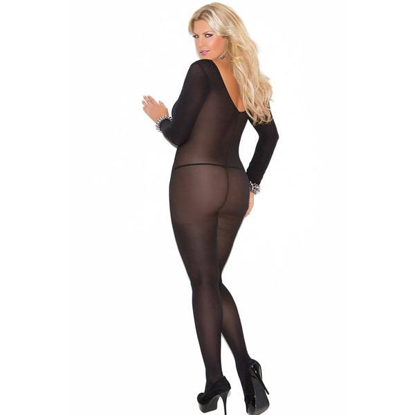 Elegant Moments Lingerie Long Sleeved Black Opaque Bodystocking (One Size Plus)