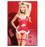Coquette International Lingerie Coquette Jingle Bells Faux Fur Bustier and G-String Set (One Size)