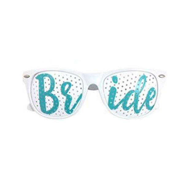 Premium Products Bride Plastic Sunglasses (White/Teal)