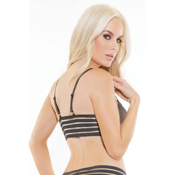 Coquette International Lingerie Coquette Mesh Bralette with Striped Elastic Back (One Size)