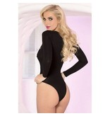 Pink Lipstick Lace To The Top! Black Bodysuit