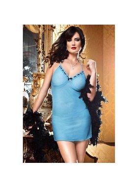 Baci Lingerie Baby Blue Dot Mesh Halter Dress (One Size Plus)